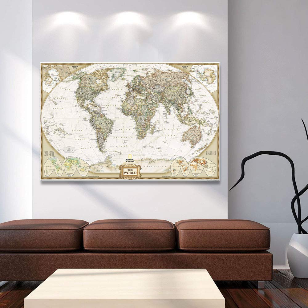 QKa Retro Mapa del Mundo Sala de Estar Pintura Decorativa Sin Marco Pintura Lienzo Porche Corredor Versi/ón Vertical Decoraci/ón para el Hogar Pintura Mural