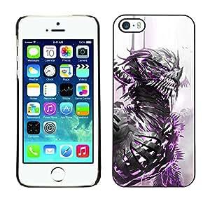 Paccase / SLIM PC / Aliminium Casa Carcasa Funda Case Cover para - Dragon Warrior White Watercolor Monster - Apple Iphone 5 / 5S
