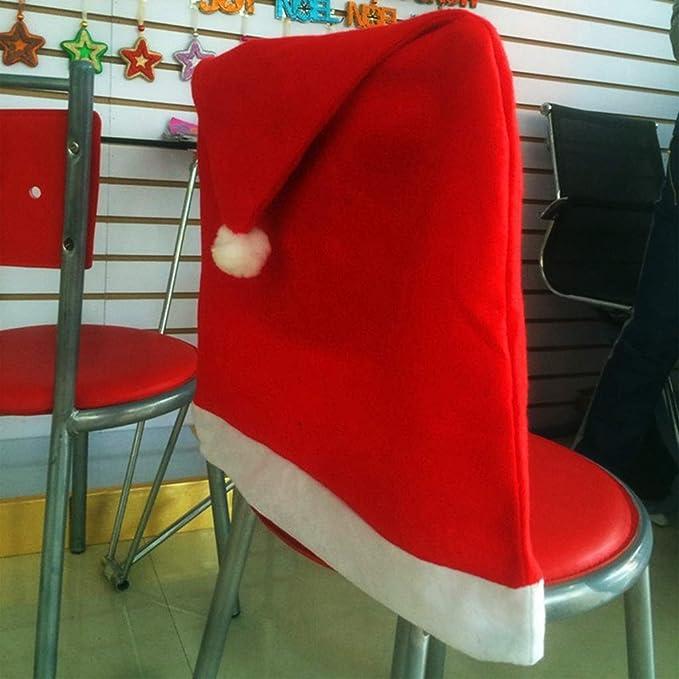 Jiamins 1 Unid Navidad Santa Claus Cap Silla Asiento Trasero Cubierta Red Hat Pompom Ball Comedor Funda de Obra Clásica Regalo Festival Fiesta decoración: ...