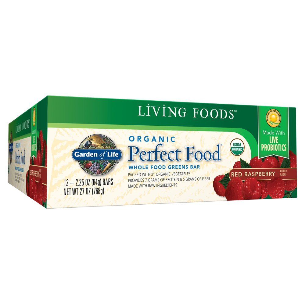 Garden of Life Organic Perfect Food Whole Food Fruit and Greens Bars with Fiber and Probiotics, Vegetarian, Red Raspberry 64g bars (12 per carton) by Garden of Life