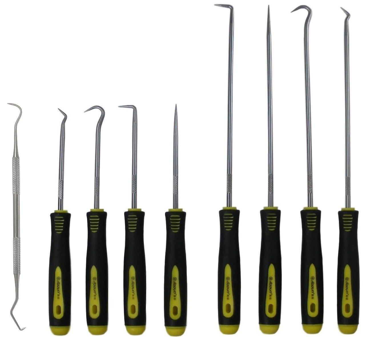 9 pcs Long and Short Pick Hook Set plus O-ring Tool