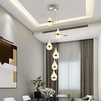 Escalera Pasillo Lámpara colgante Luz colgante de techo bola Moderno Creativo LED Blanco cálido Sala de estar Comedor Araña Loft Hall Hotel Tienda Decoración Lámpara,6lights: Amazon.es: Iluminación