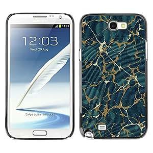 TopCaseStore / la caja del caucho duro de la cubierta de protección de la piel - Texture Pattern Gold Abstract Blue - Samsung Galaxy Note 2 N7100