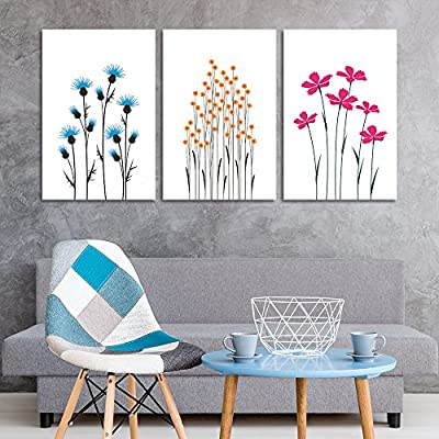 3 Panel Canvas Wall Art - Hand Drawing Style Flowers on White Background - Giclee Print Gallery Wrap Modern Home Art Ready to Hang - 24
