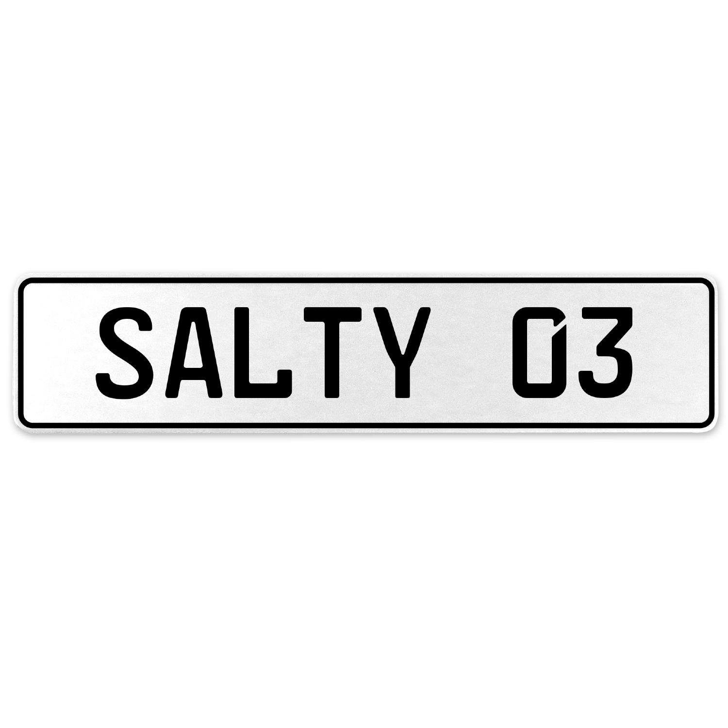 Vintage Parts 556679 Salty 03 White Stamped Aluminum European License Plate
