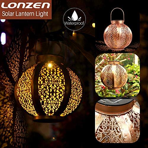 Solar Hanging Lantern Lights Outdoor - LONZEN LED Sun Powered Lights Metal, Waterproof Decorative Lamp