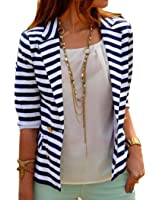 Lantusi Women Stripe Casual Career Long Sleeve Blazer Notched Lapel Button Closure Outwear