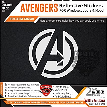 Carmetics Avengers Stickers For Nissan Sunny White 2pcs Amazon In