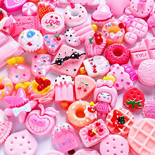 Slime Charms Cute Set - 100pcs Charms for Slime Assorted Pink Candy Sweets Flatback Resin Cabochons for Craft Making, Ornament Scrapbooking DIY Crafts ()