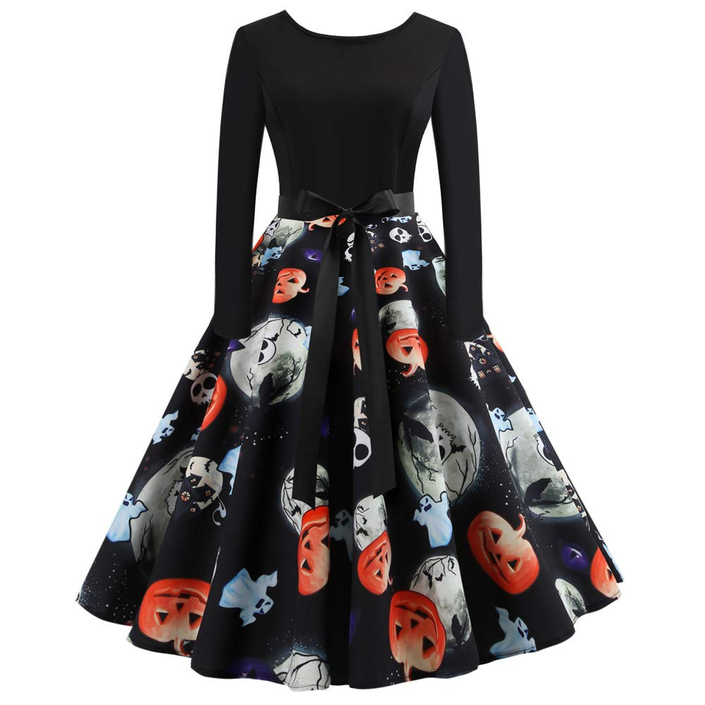 DEATU Halloween Womens Dress Clearance Ladies O Neck Long Sleeve Printing Vintage Gown Party Dress DEATU-womens dresses
