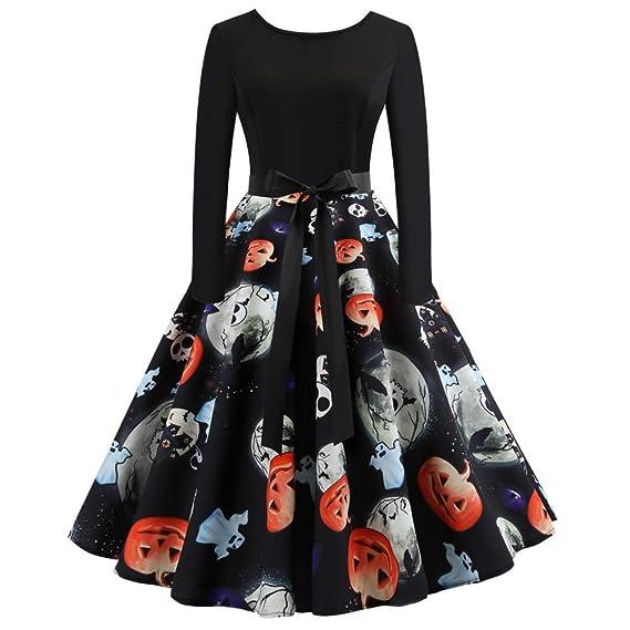 Amazon.com: NRUTUP Womens Dresses Long Sleeve Pumpkin Print Halloween Mini Dress Daily Paty HOT!: Clothing