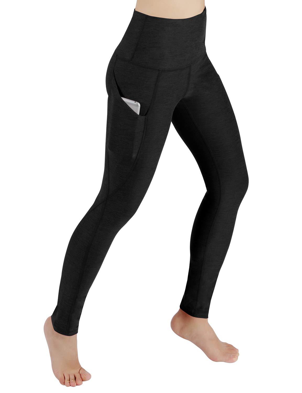 ODODOS High Waist Out Pocket Yoga Pants Tummy Control Workout Running 4 Way Stretch Yoga Leggings,Black,Medium
