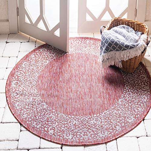 Unique Loom Outdoor Border Collection Traditional Floral Border Transitional Indoor and Outdoor Flatweave Rust Red  Round Rug (4