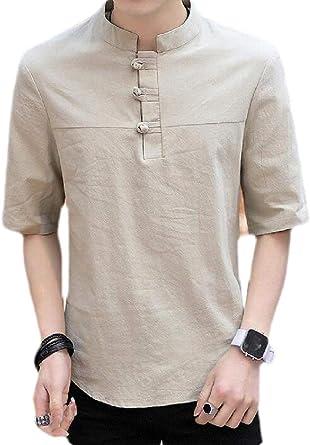 securiuu - Camisa de Manga Corta para Hombre, Estilo Hippie, de Lino y algodón Verde Caqui XXX-Large: Amazon.es: Ropa y accesorios