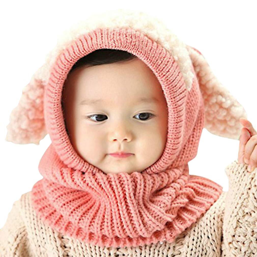 Amazon.com  iHomey Baby Girls Boys Toddler Winter Hat Scarf Set Cutest  Earflap Hood Warm Knit Hat Scarves with Ears Snow Neck Warmer Cap for Kids  6-36 ... ef0a08fed89