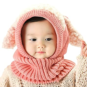 cba37b682b1db5 iHomey Baby Girls Boys Toddler Winter Hat Scarf Set Cutest Earflap Hood Warm  Knit Hat Scarves