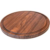 Round Wood Cutting Board by Virginia Boys Kitchens - 10.5 Inch American Walnut Cheese Serving Tray and Charcuterie…