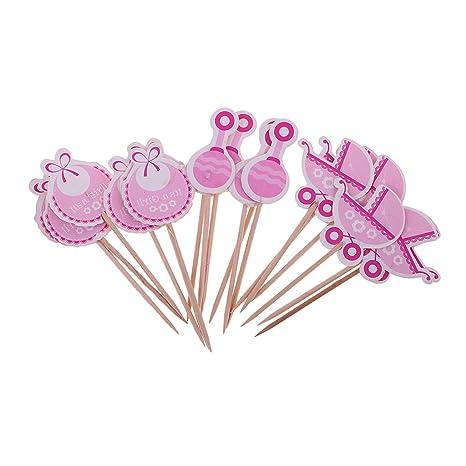 Perfeclan 18 Piezas Baby Shower Carrito de bebé Bib Rattle Cupcake Topper - Es una niña