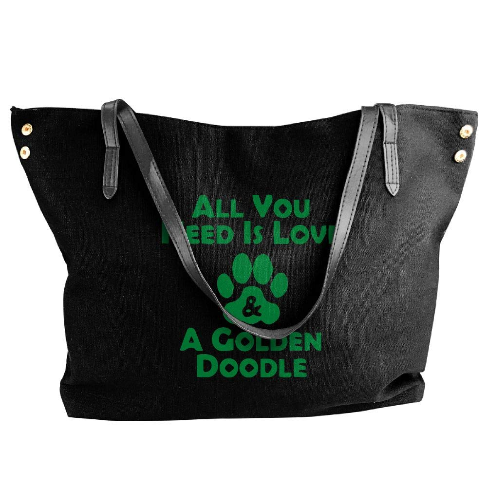 Women's Canvas Large Tote Shoulder Handbag All You Need Is Love And A Goldendoodle Hobo Handbag Bag Tote
