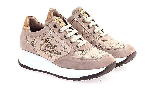 8ec77e0a7b27e3 ALVIERO Martini 1°Classe Linea Junior N0047 Sneakers Scarpe Donna Lacci  Taupe 35EU