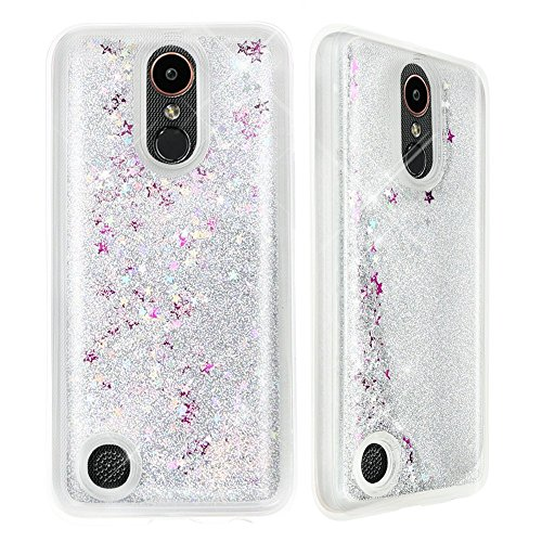 Plus Sparkle (Urberry LG K20 Plus Case, LG K20 V Case, Floating Bling Glitter Sparkle Case for LG K20 Plus/ LG K20 V (Silver))