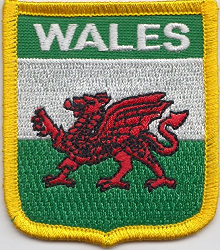 Wales Welsh Dragon Shield Flag Embroidered Badge (Welsh Shield)