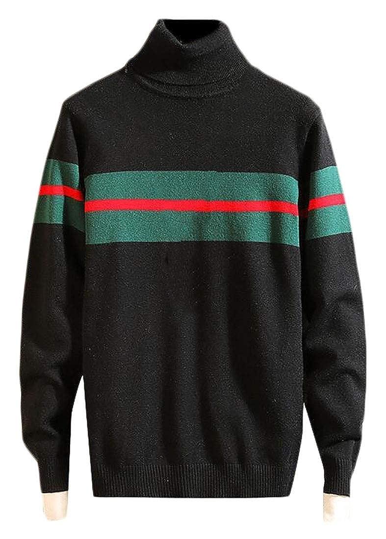 WSPLYSPJY Mens Casual Contrast Color Stripe Turtleneck Sweater Pullover