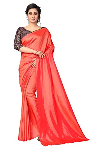 8fc294d2b2024c Nena Fashion paper silk Saree With Blouse Piece (paper silk orange  saree_Orange_Free Size): Amazon.in: Clothing & Accessories