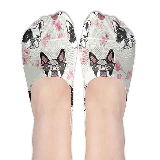 NUNOFOG Womens Funny Bulldog No-Show Socks With Anti-Slip Grip Terylene  Cotton Socks Hidden Flat Boat Line at Amazon Women s Clothing store  4b99ceb65