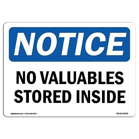 Amazon.com: OSHA aviso – NO etiqueta objetos de valor ...