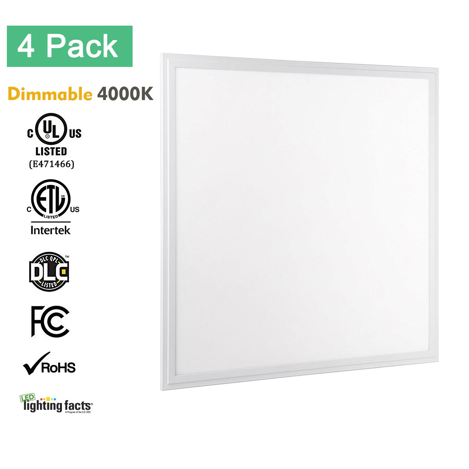 2x2 LED Flat Panel Light, Allsmartlife 4-Pack 2x2 LED Panel Light Dimmable 4000K(Bright White), 0-10V 40W(140W Equivalent) - White Frame, 4147 Lumens, 100-277V - DLC-Qualified and Lighting Facts by AllSmartLife