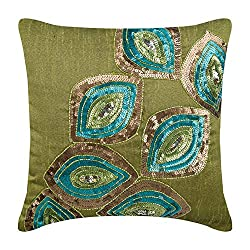 Silk Zippered Pillow Covers With Sequins Embellished