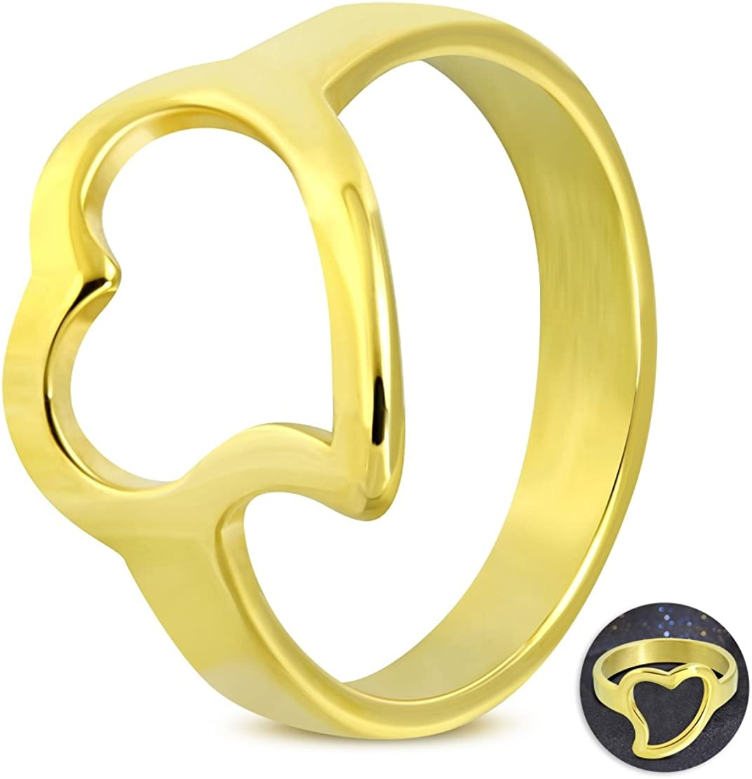 Stainless Steel Gold Color Plated Open Love Heart Fancy Ring
