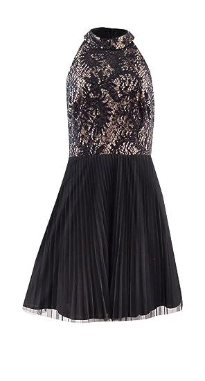 ea68f9197056 Xscape Women's Sequined Lace Halter A-Line Dress (6, Black/Nude) at ...