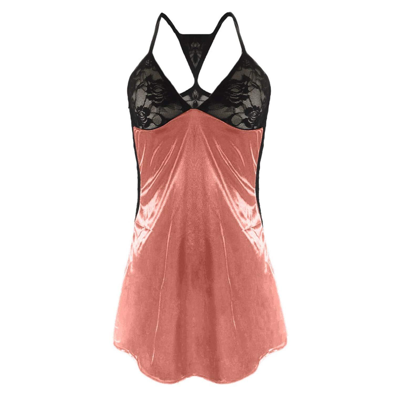 b058b15b7 T T Store Sexy Summer Sleepwear Dress Plus Size Lace Silk G-String Sets  Spaghetti Strap Home Nightwear SleepSkirt(Light Pink