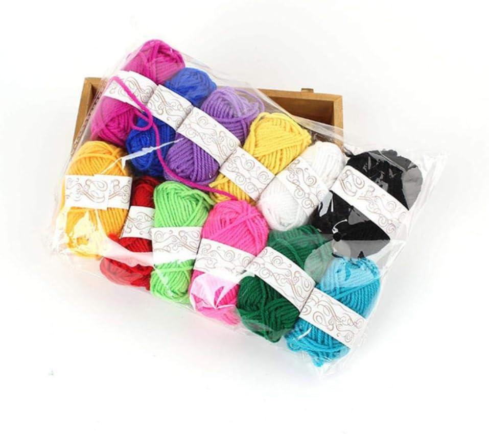 N/R 12 Rollo Colorido Suave Bebé Leche Hilo de Algodón Fibra Terciopelo Lana Crochet Hilado para Tejer a Mano DIY Suéter Manta Bufanda, Lana