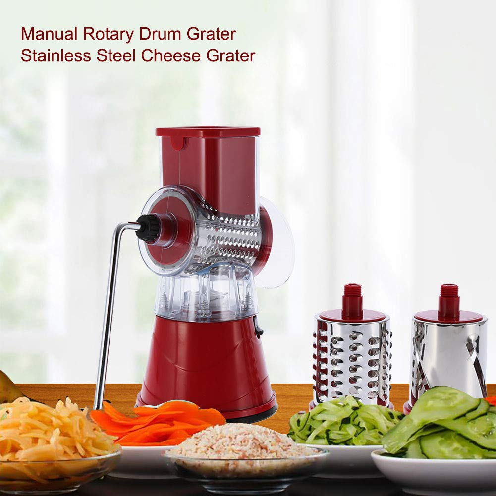 Red Manual Vegetable Slicer Rotary Drum Grater with 3 Stainless Steel Rotary Blades Cheese Grater Vegetables Slicer Shredder
