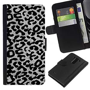 All Phone Most Case / Oferta Especial Cáscara Funda de cuero Monedero Cubierta de proteccion Caso / Wallet Case for LG G3 // blanco modelo del guepardo del leopardo gris negro