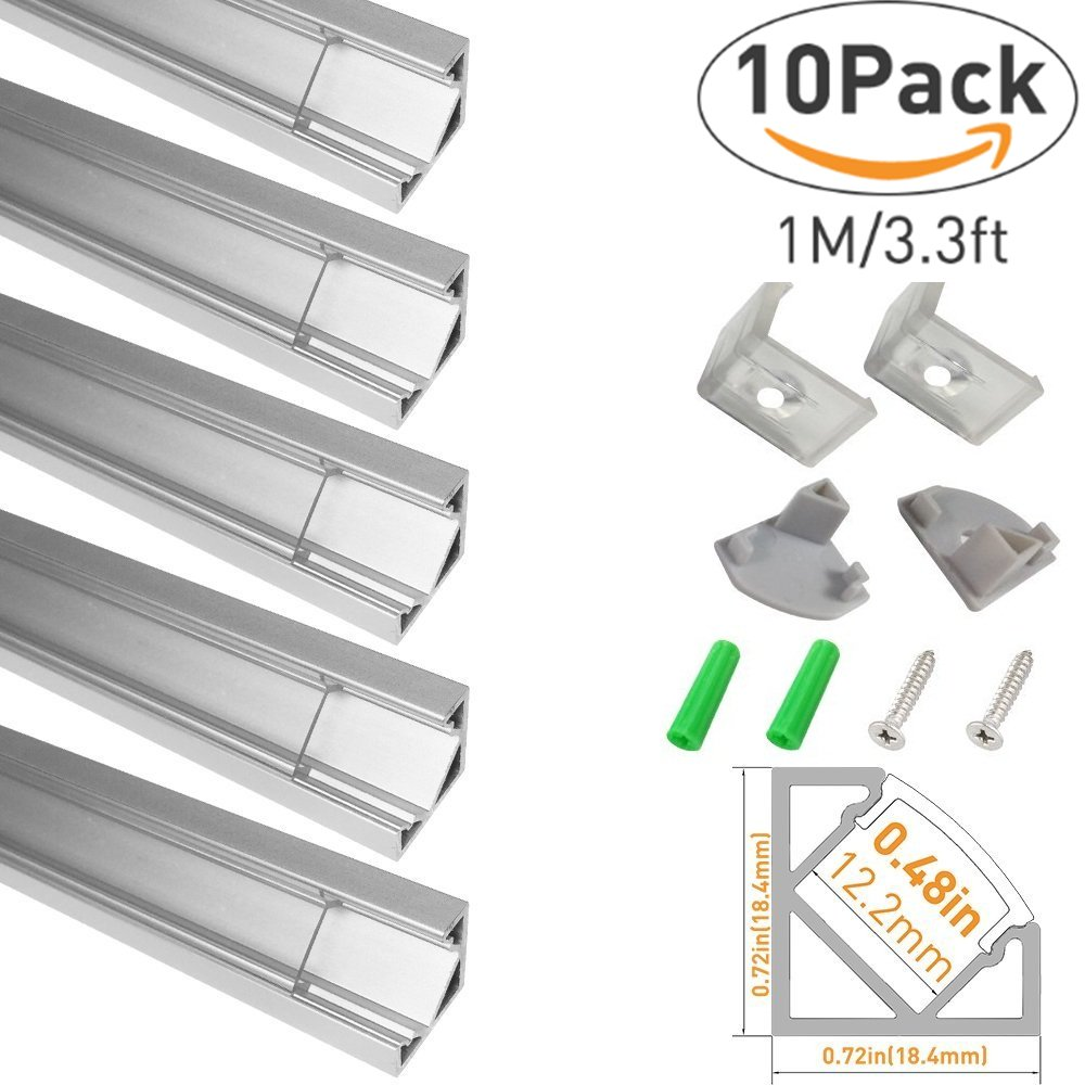 LED Aluminum Channel with Clear Cover, LightingWill 10 Pack 3.3Ft/1M V Shape Corner Mounted (Section Size:0.71'' x 0.71'') Anodized Silver Channel System for <12mm LED Strip Lights with Caps + Clips V03