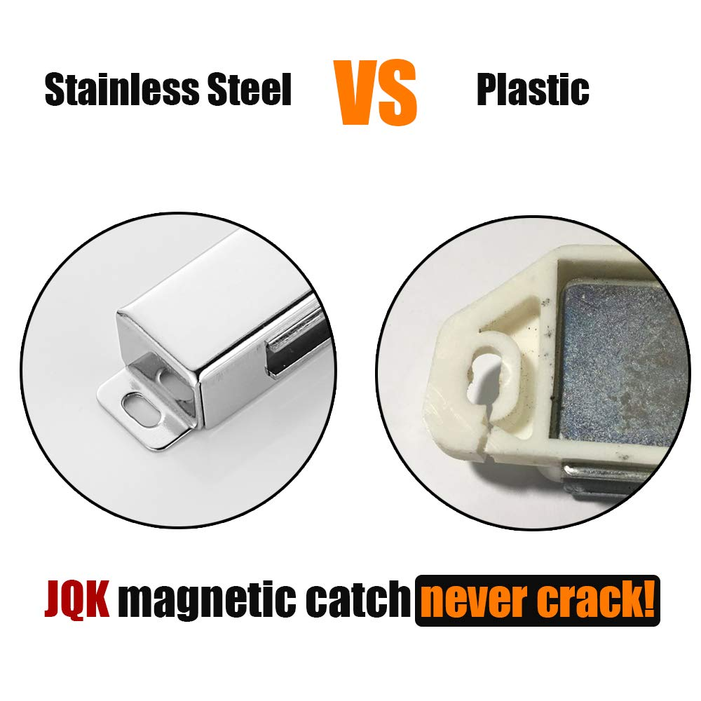 JQK Magnetic Door Catch CC120-P3 1.2mm Thickness Silver Stainless Steel Cabinet Magnet Closet Catches 3 Pack