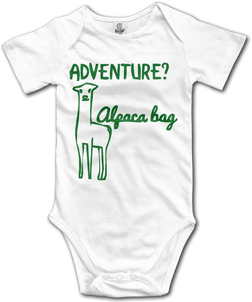 Infant Baby Girls Bodysuit Short-Sleeve Onesie Alpaca Print Pajamas