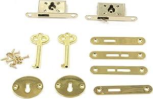Tulead Mini Box Locks Mortise Locks Wooden Box Locks Jewelry Box Lock Golden Keyhole Locks Furniture Locks Set of 2 with Keys & Mounting Screws