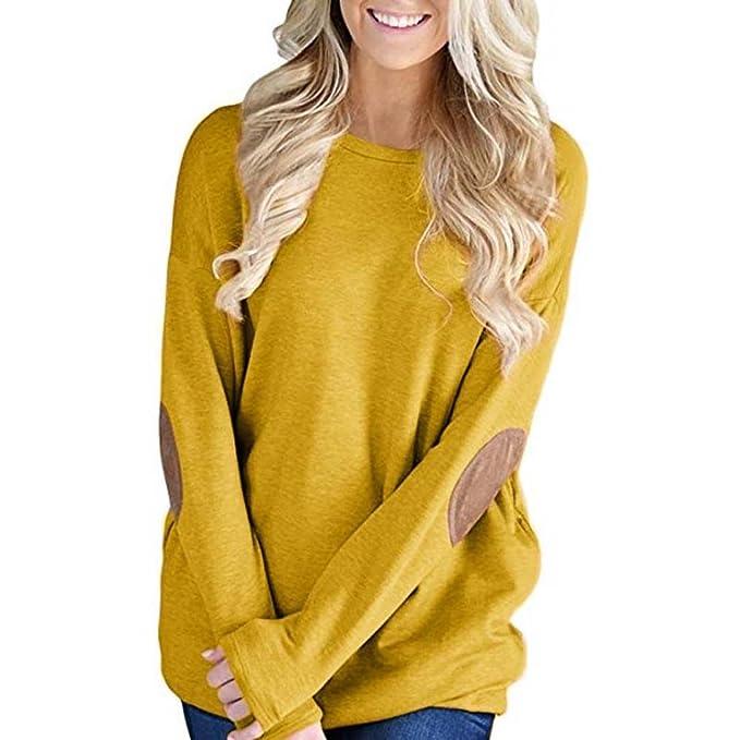 SHOBDW Mujeres Sueltas de Manga Larga de Patchwork sólida Camiseta Inferior Blusa Tops (Amarillo,