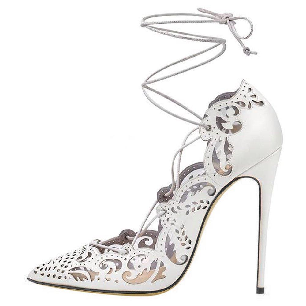 Queen Van - Zapatos de vestir de Charol para mujer 47 EU/29.5cm|blanco