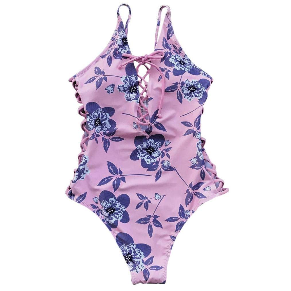 1584274ec1 Womens Swimsuit One Piece Thong Floral Bodysuit Bikini Push Up Padded Beach  Monokini Swimwear Bathing Suit Sexy Ruched Tummy Control (S