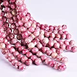 Asingeloo 60PCS 6mm Pink Jasper Gemstone Loose