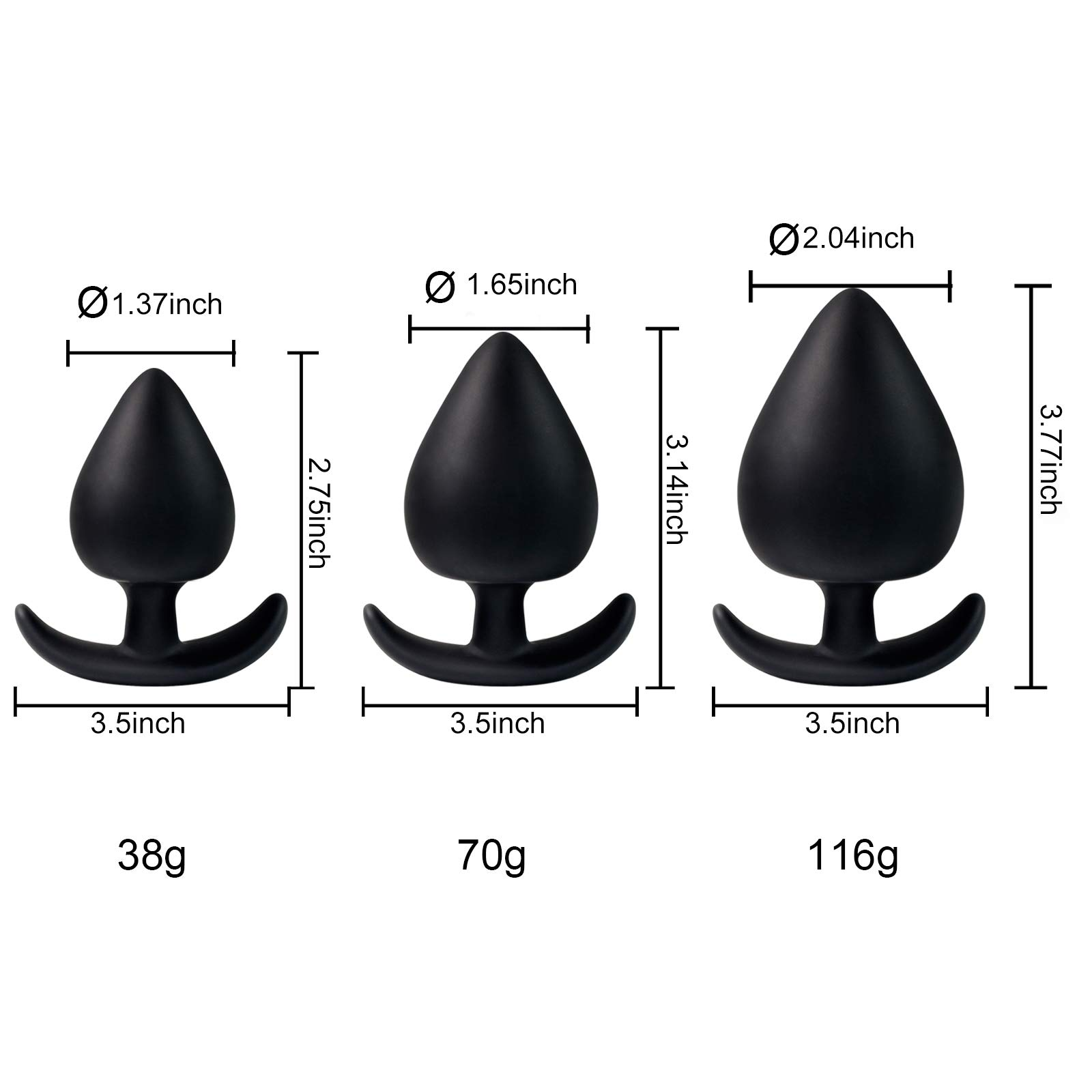 Anal Plug Silicone Butt Plug,Riodong Anal Sex Toys in Black (Three-piece Suit)