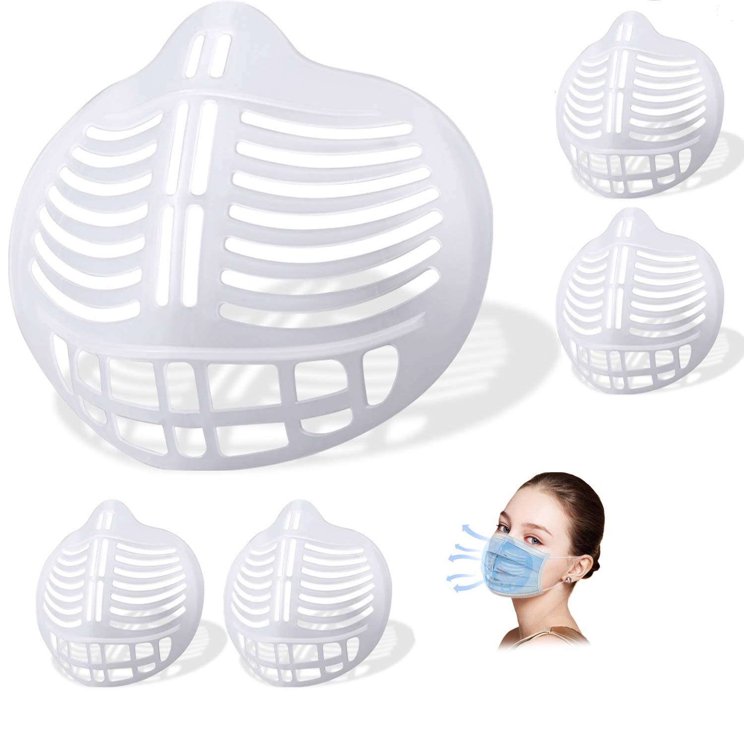 [5 PCS]3D Face Bracket, Face Breathe Cup, Reusable Cool Stand Insert Turtle to Keep Fabric Off, Clear : Beauty