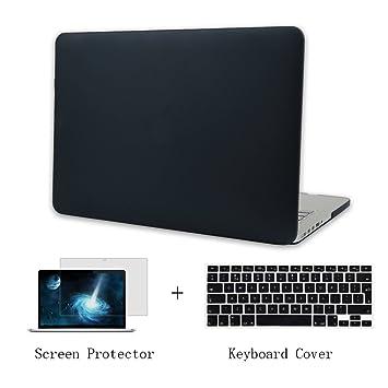Batianda Plástico Funda Dura Carcasa para MacBook Pro 15 pulgadas con CD-Rom & Cubierta del Teclado & Protector de Pantalla,Negro
