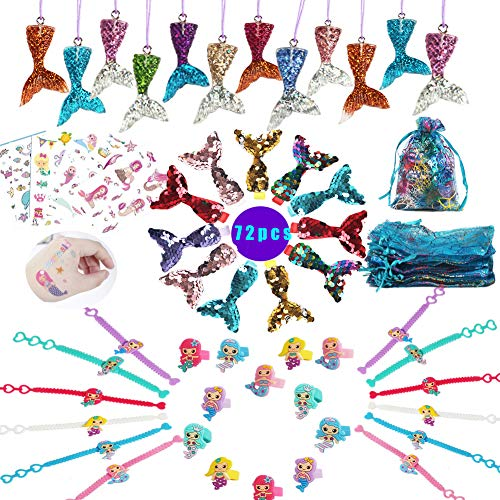 Mermaid Party Favors Supplies,Mermaid Bracelet Ring Hair Clip Necklace Sticker Gift Bag Mermaid Accessories Kit for Girls Mermaid Party Gift for Kids -